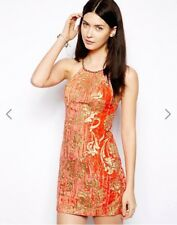 XS (2) NWT $350 Free People RARE Coral Gold Velvet Crush Rock Candy Dress