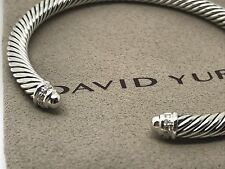 DAVID YURMAN Sterling Silver Dome Cable Classic Bracelet Bangle Diamond 5mm