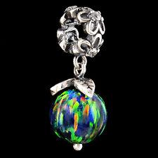 Alducchi Black  Raionbow Fire Opal .925 Sterling Silver European Dangle Charm #6