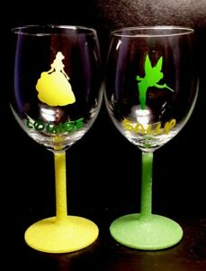 Personalised Character Wine Glasses With Glittered Stem, Disney, Gift