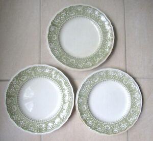 "3x Vintage Kensington Staffordshire Ironstone Dundee Green 10"" Dinner Plates"