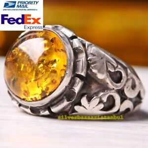 Handmade 925 Sterling Silver Authentic NATURAL yellow amber  Stone New Mens Ring