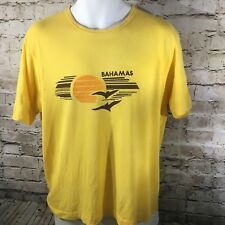 VTG 70s 80s Bahamas Dragon Phoenix Thinning Tshirt Tee Yellow Size Large