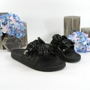 Tory Burch Black Floral Blossom Pool Slide Sandals Sz 7