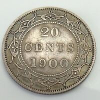 1900 Newfoundland Twenty 20 Cents Sterling Silver Canadian Circulated Coin G605