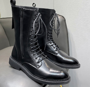 Mens Patent Leather High-top Knight Boots Casual Shoes British Lace Up Cowboy 44