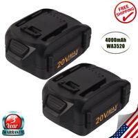 2Pack 4.0Ah Li-ion 20VOLT Battery for WORX WA3520 WG251s WG255 WA3525 WG155s US