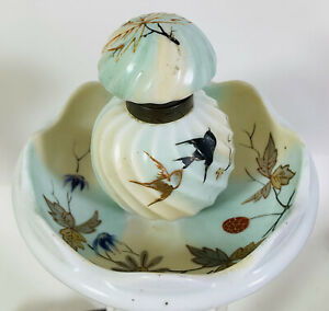 Hand Painted Porcelain Antique Inkwell Swallows Leaves Continental French??