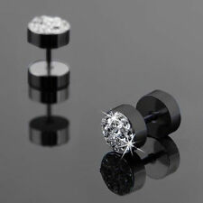 US-2 Pcs Black & Silver Color Men's Barbell Punk White Crystal Ear Stud Earring