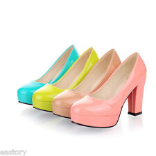 Ladies Club Party Shoes Synthetic Leather Platform High Heels Pumps US Size S219