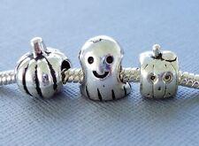 3 pcs Halloween Pumpkin Ghost Charms Beads Large hole for European Bracelet C100