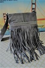 """Genuine Leather Fringe in """"SLATE GREY"""" Messenger  Bag Cross Body HandBag Premium"""
