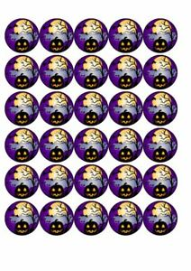 30 x Cup Cake Edible Cake Topper Rice Paper  Halloween Spooky Scene