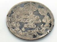 1910 Canada Small Five 5 Cent Silver Circulated Canadian Edward VII Coin I846