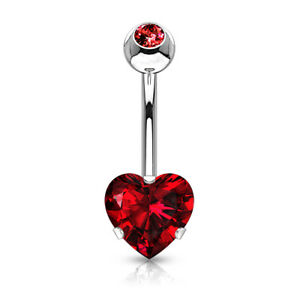 Heart Surgical Steel Prong Belly Button Ring Navel Naval Set Red
