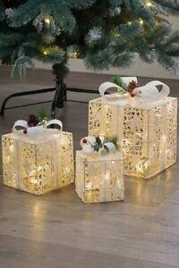 Set of 3 Pre Lit White LED Light Up Parcels Gift Boxes Christmas Decoration