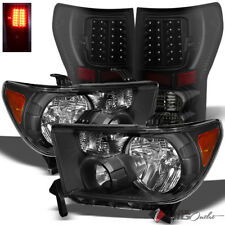 For 07-13 Tundra Black Headlights + Darkside Black Smoked LED Tail Lights Combo