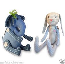 2 X Stuffed Toy Sewing PATTERNS, Denim Elephant & Floppy Eared Bunny Rabbit Easy