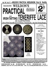 Weldon's 2D #195 c.1901 Vintage Instructions Teneriffe Lace & Irish Tatting
