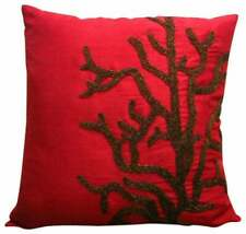 "Couch Pillowcase Red 12""x12"" Luxury, Silk Corals - Coral Rhapsody"