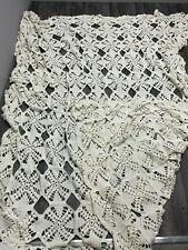 "Handmade CROCHETED KNITTED BLANKET BEDSPREAD Cream Wool 100"" x 90"" Throw"