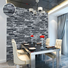 Thick Modern 3D Faux Stacked Stone Brick Wallpaper Roll Black Vinyl
