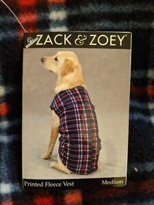 ZACK & ZOEY Plaid Winter Fleece Dog Vest/Coat w/velc closure down back, size Med