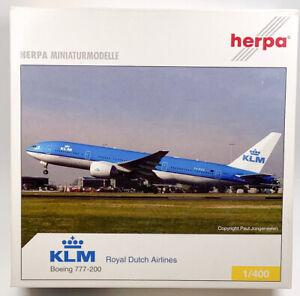 Herpa Wings 561150 KLM Boeing 777-200 1/400 Scale Diecast Model
