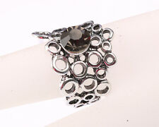 Park lane Designer Silver Tone Ring made of Circles, with Grey Stone, Size O
