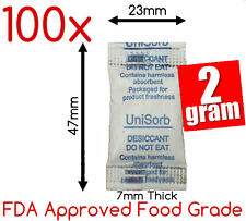 100x 2gm Food Grade Silica Gel Packets Desiccant Moisture AbsorberTyvek Packs