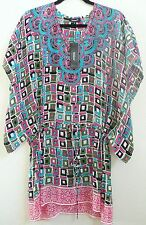 Tolani Candice Green Tiles Silk Tunic Top Cover-Up Mini-Dress Size S NWT
