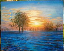 ORIGINAL OIL Painting Hand painted sun Landscape Artwork wall ART decor gift