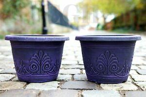 2 x Plastic Round Garden Plant Pot Flower Pots Planter Wisteria Wash Purple 16cm