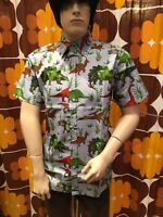 MENS RUN & FLY 50'S/60'S RETRO/VINTAGE/HAWAIIAN DINOSAUR PRINTED BLUE SHIRT