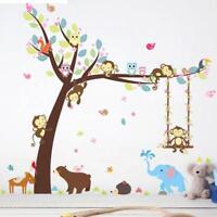 Jungle Animals Swing Monkey Tree Wall Sticker Decal Nursery Kids Room Decor BM