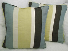 "DELANEY BY ROMO 1 PAIR OF 18"" CUSHION COVERS - DOUBLE SIDED/PIPED/ZIP OFF COVER"