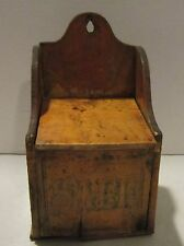 Antique wall hanging pine wood Salt box in good strong clean primitive condition