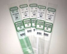 "Evergreen Styrene 14"" Half Round Solid Rod Plastic Assortment 5 packs"