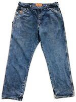 Wrangler FR Riggs Workwear Mens 42x34 Blue Denim Carpenter Jeans HRC2