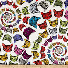 Alexander Henry Nicole/'s Prints Cat-finity 8667A White Kitty 100/% Cotton Fabric