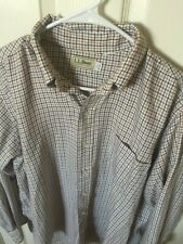Mens LL Beans Yellow Blue Plaid Flannel Button Down Shirt Size Large (16-16 1/2)