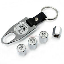 Dodge Ram Silver Logo Chrome Tire/Wheel Air Stem Valve CAPS & Wrench Key Chain