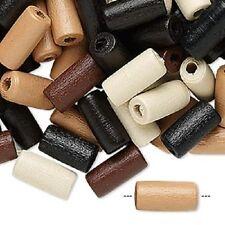 8132NB Boxwood Wood Bead Mix Brown Black White Tan 12mm 12x5mm Tube 100 Qty