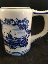 Elesva Holland Delft like Cobalt blue on Ivory Beer mug