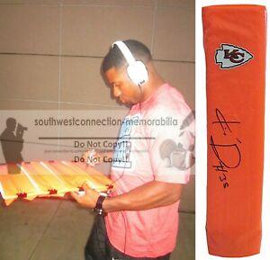 Knile Davis K.C. Chiefs Signed TD Football Pylon Proof Photo Autograph COA