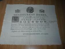 AFFICHE  FUNERAIRE 1791 DENIS AUGUSTE BOURDON NEGOCIANT CAPITAINE