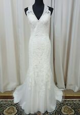 NEW Mori Lee Bridal 2712 Halter Sheath Wedding Dress Gown Ivory Sz 14
