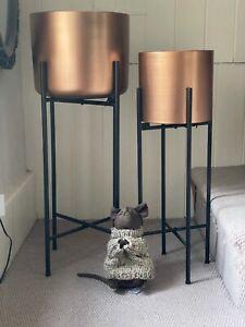 A Pair of Copper Metal Retro Art Deco Influenced  Urns Planters on 3black legs