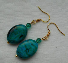 Unique handmade green chrysocolla oval shape gold plated earrings +free stoppers