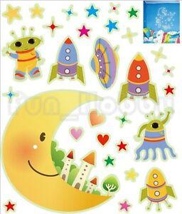 Glow Stickers Carton Moon Glow In The Dark Stickers Cute Alien